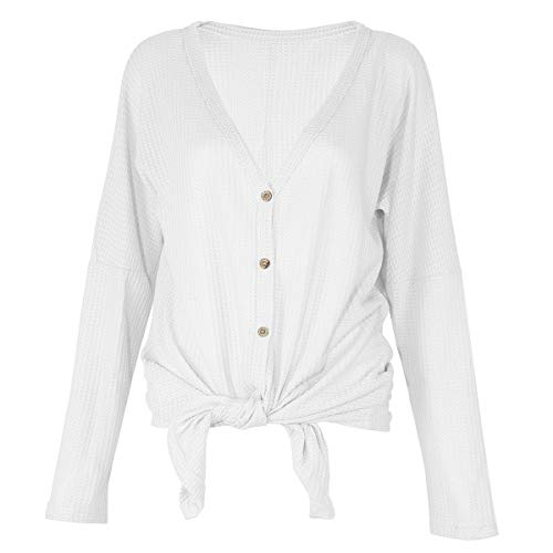 Womens Waffle Knit Tunic Blouse Tie Knot Henley Tops Casual Long Sleeve Bat Wing Plain Shirts (White, XL) (Pointelle Henley Top)