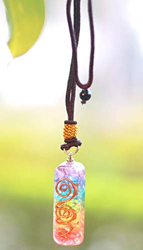 Jet Energized Handmade Rainbow Double Coil Orgone Pendant 2.5 inch approx. Prosperity Mental Peace EMF Protection Crystal Therapy Booklet IMAGE IS JUST A REFERENCE