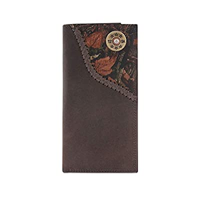 Zep-Pro Shotgun Shell Fencerow Braided Leather Long Secretary Concho Wallet-Brown/Camo
