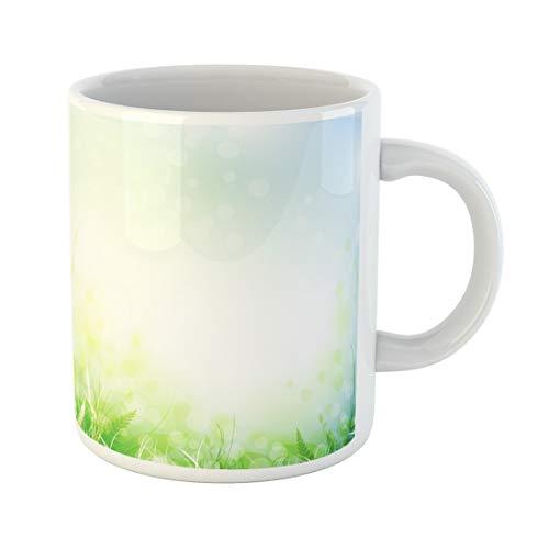 Tinmun 11 Oz Coffee Mug Leaf Spring Meadow Green Grass Over Blue Sky Copyspace Decor Lover Funny Mug Birthday Gift Coffee Tea Cup Mugs