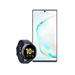 Samsung Galaxy Note 10+ Plus Factory Unlocked Cell Phone with 256GB (U.S. Warranty), Aura Glow (Silver) Note10+ w/Samsung Galaxy Watch Active2 (44mm), Aqua Black - US Version with Warranty