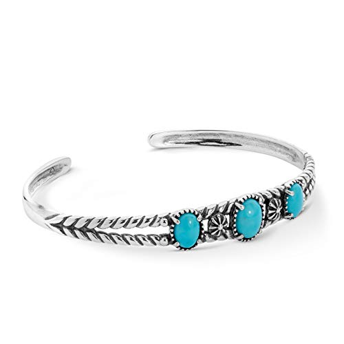 American West Sterling Silver .925 Three-Gemstone Twisted Rope Friendship Cuff Bracelet, Turquoise - Small