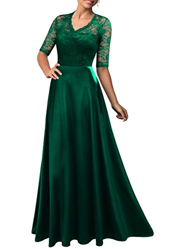 (Mmondschein Women's Vintage Floral Wedding Bridesmaid Evening Long Dress Green)