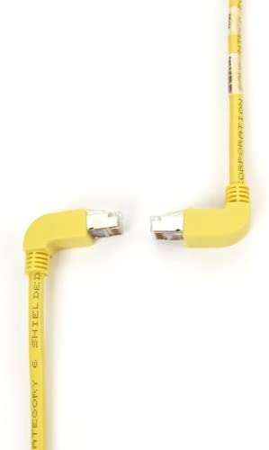 1.8-m Up Down-90 deg 6-ft. 90 deg SSTP, PIMF Black Box SpaceGAIN CAT6 Shielded Stranded 250-MHz Angled Patch Cable Yellow