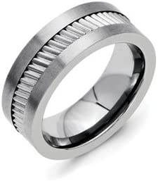 Titanium Base With Sawtooth Accent Flat Polished 8mm Band Best Quality Free Gift Box
