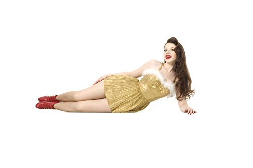 - Michello Trachtenberg Gold Ornament Short Dress Red Heels Modeling Full Photo 8 inch x 10 inch PHOTOGRAPH