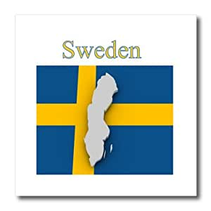 Florene Maps In Exotic Outline - Image of Exotic Sweden Map On Swedish Flag - 10x10 Iron on Heat Transfer for White Material (ht_243570_3)