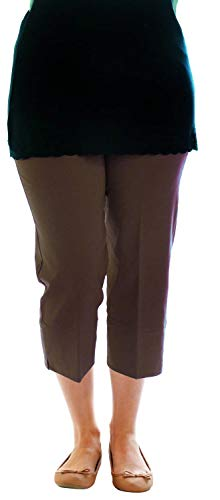 Chocolate Pickle New Ladies Plain Plus Size Elasticated 3/4 Length Capri Trousers Pants Shorts 8-20 (16, Brown)