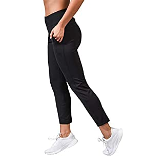 90 Degree By Reflex High Waist Slim Stretch Yoga Jogger - Tapered Lounge Pants with Side Pockets - Black - Small