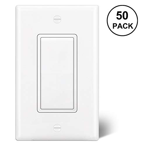 [50 Pack] BESTTEN Wholesale, Single Pole ON/OFF Light Switch (15A, 120/277V), Decorative Wall Plate Included, Grounding Paddle Rocker Interrupter, Residential & Commercial Grade, UL Listed, White