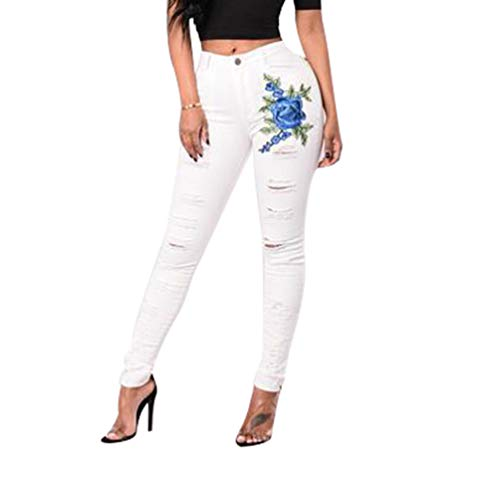 Cayuan Vaqueros Rose Mujeres Blanco Elásticos Mezclilla Pantalones Elegante Flaco Pantalones Lápiz Alta Leggings Jeans Bordado Cintura drrwAx5UqI