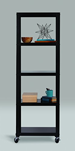 Space Solutions 21752 Home Office Collection Mobile Metal Bookcase, 72 x 24 x 14 , Black