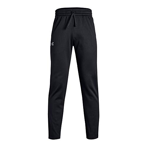 Kids Pant Fleece - Under Armour Boys' Armour Fleece Pants, Black (001)/Steel, Youth Large