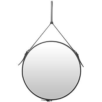 Elegant Round Wall Mirror Decorative Mirror with Adjustable Hanging Strap, Diameter 19.7 inch, Dark Grey PU Leather