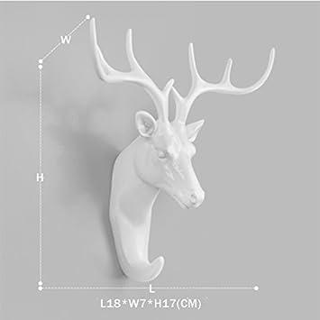 Creative Animal Hook Living Room On The Wall Hanging Retro Deer Head Wall  Decorations (Deer White)