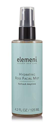 elemeni Hydrating Rose Facial Mist, 4.2 fl oz, Soothing Nourishing Moisturizing Rosewater Spray, Makeup Primer, Boost Liquid Foundation Hydration, Toning Witch Hazel, Vitamins B5 C and Hydrosol Spritz