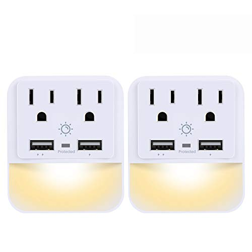 (USB Wall Charger, Outlet Adapter, POWRUI 2-Pack Surge Protector(1080 Joules) with Dual USB Charger Ports(2.4A Total), Dual Outlet Extender and Dusk-to-Dawn Sensor Night Light, White, ETL Certified)