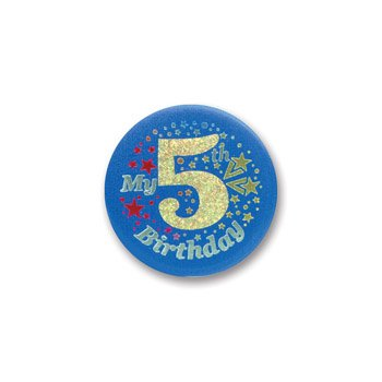 Beistle My 5th Birthday Satin Button (Blue) 2'' Party Accessory