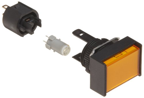 Rectangular Indicator Light - Omron M165-JY-12D Cylindrical Indicator Display and Socket, Solder Terminal, IP65 Oil-Resistant, 16mm Diameter, LED Lighted, Rectangular, Yellow, 12 VDC Rated Voltage