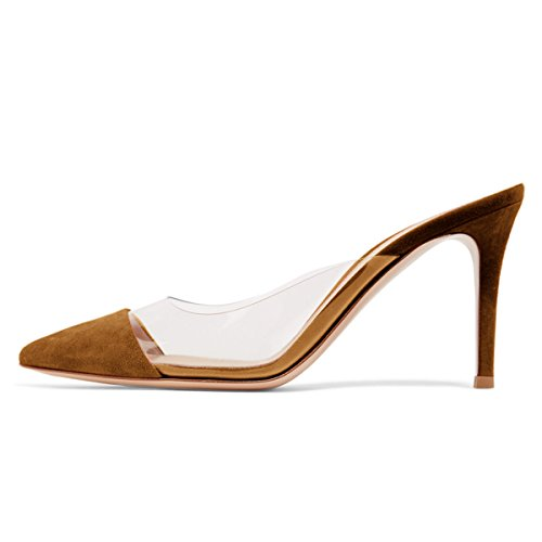 Le Donne Di Modo Fsj Sandali Aguzzi Chiare Tacco Basso Muli Scivolano Sulle Scarpe Sexy Stiletto Formato Stati Uniti 4-15 Marrone