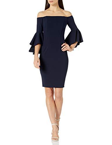 Calvin Klein Women's Off The Shoulder Solid Bell Sleeve Sheath Dress, Indigo, 10