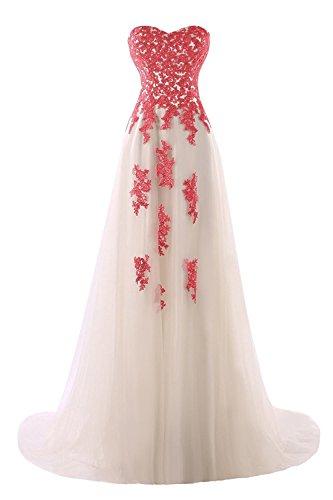 Abendkleider Partykleid Damen Wassermelone Elegant Applikationen Tüll mit Ballkleid Hochzeitskleid Schatz Lang Beyonddress dgPntvt