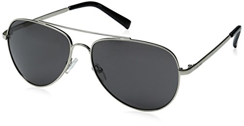 Calvin Klein R159S Aviator Sunglasses, Shiny Light Silver, 60 ()