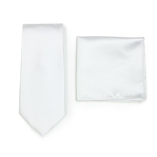 - Bows-N-Ties Men's Solid Necktie and Pocket Square Set (White)