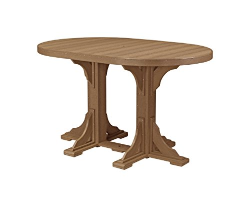 LuxCraft PolyTuf 4' x 6' Outdoor Bar Height Oval Table Antique Mahogany ()