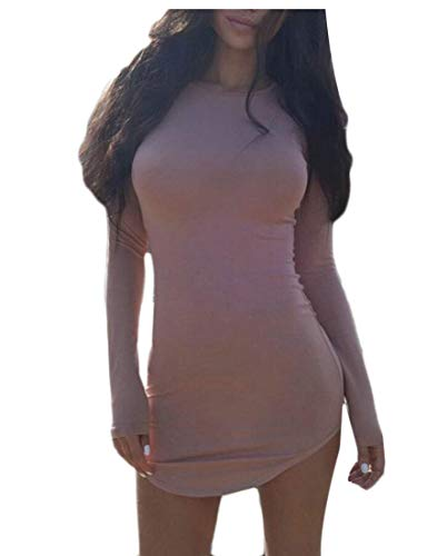 Dress Mini Slim Sexy Sleeves Women's Party Fit Long ainr 1 Dresses Bodycon Club gqwFPxUnC