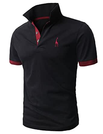H2H Mens Fine Cotton Giraffe Polo Shirts of Various Colors BLACK US M+/Asia 2XL (JDSK36)