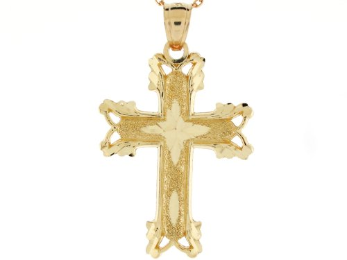 14ct Or Massif Pendentif Croix Religieuse Chretienne Taille Diamant