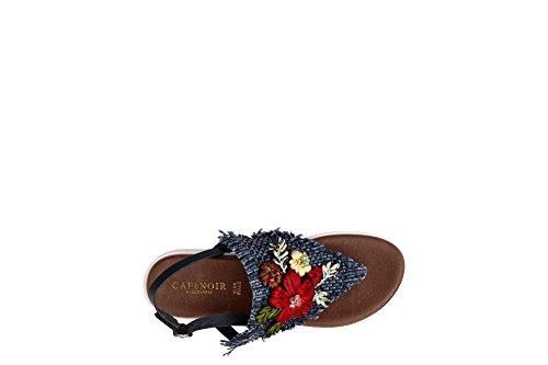 Cafè Blu Sandales Embroidered Tongs Noir Band KFB933 2253 rwRarq0