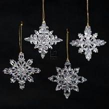 Kurt Adler Acrylic Snowflake Ornament Set OF 12