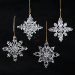 kurt adler acrylic snowflake ornament set of 12 - Snowflake Christmas Decorations