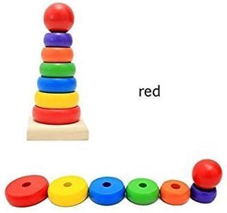 Haute qualit/é Ogquaton Bague en bois empileur arc-en-ciel jouet /éducatif Kid Toy