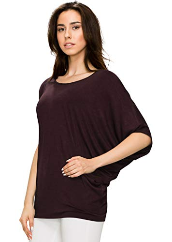 WT1073 Womens Scoop Neck Half Sleeve Batwing Dolman Top L BROWN