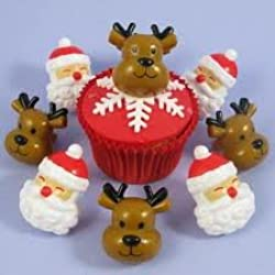 Christmas Cupcake Rings Santa and Reindeer Party Favor Cake Decorations (12)