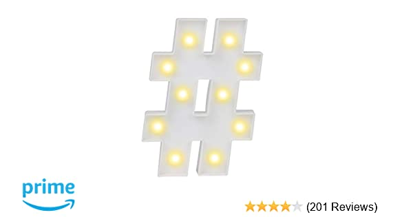 Amazon.com: Pooqla Hashtag Symbol Sign Night Lights LED Alphabet Art Lights Wall Decor Light up Words for Wedding Birthday Party Christmas Home Bar ...