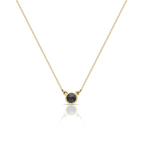 14k Yellow Gold Diamond Necklace (Solid 14K Yellow Gold Elegant Gold Circle Necklace w Black Diamond 0.15 carat 14k Gold Circle Pendant for Sister Solid Gold Necklaces 16inch + 2