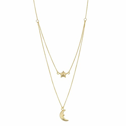 (10K Yellow Gold Moon And Star Layered Pendant Necklace, 17