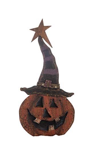 (Transpac Imports D0079 Small Plywood Jack-O-Lantern Pumpkin Decor Figurine, Orange)