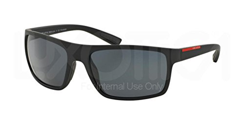 Prada Linea Rossa Men's PS 02QS Black Rubber/Grey - Prada Sunglasses Rossa Linea