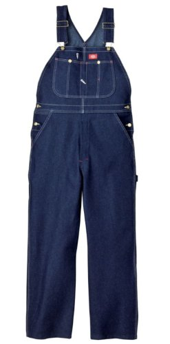Dickies Men's Denim Bib Overall, Indigo Rigid, 42 x 34 (Belted Straw Belt)