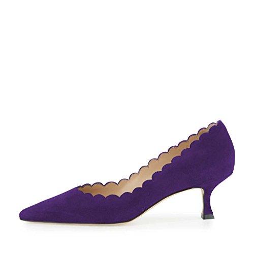 FSJ Women Kitten Low Heels Pumps Pointed Toe Faux Suede Slip On Comfort Shoes Size 4-15 US Purple VOsAs53s