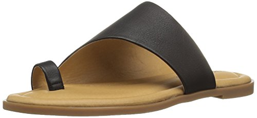 Lucky Brand Women's Anora Sandal, Black, 6.5 Medium US (Heel Leather Sandal)