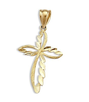 Fashion Cross Pendant Solid 14k Yellow Gold Charm 1.25 inch