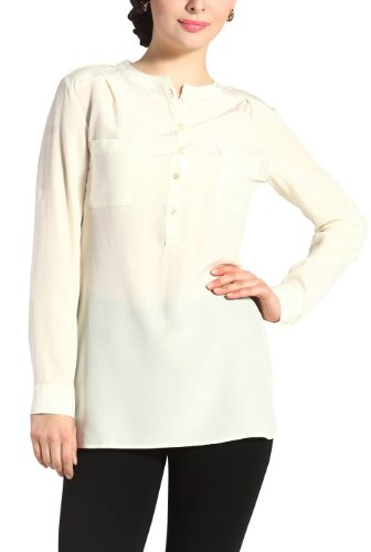 Sandals Cay Women's 'Penny' Silk Rolled Sleeve Shirt - Cream (Silk Charmeuse Tunic Top)