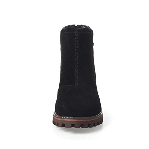 GEERBU Ankle Boots For Women Low Heel Suede Black Autumn&Winter Zipper Boots Black S9wzYT
