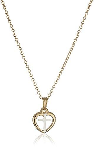Children's and Baby's 14k Gold-Filled Open Heart with Cross Two-Tone Pendant Necklace, 15 - 14k Gold Childrens Heart
